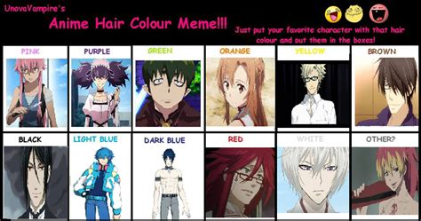 what do anime hairstyles mean anime hair color meme by brookhayes12 on deviantart