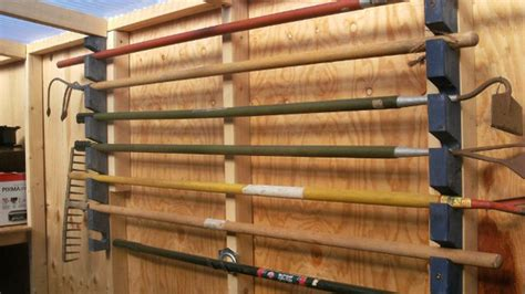 Shovel And Rake Storage Rack by Simple Garden Tool Rack Lifehacker Australia