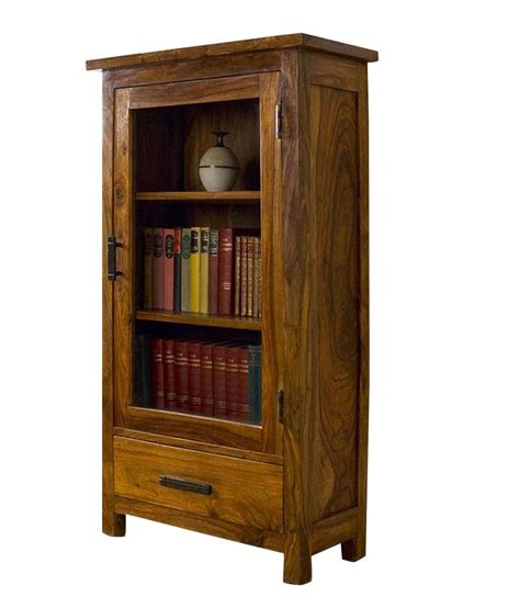 solid wood book shelf with glass door buy at best