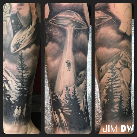 alien abduction tattoo ufo abduction ink black n grey sleeve by jim