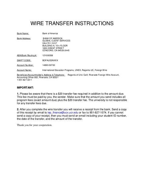 wire transfer address of california riverside wire transfer b of a