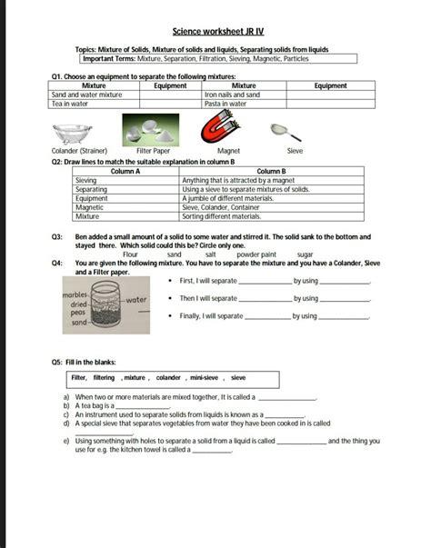 the city school science reinforcement worksheet grade 4