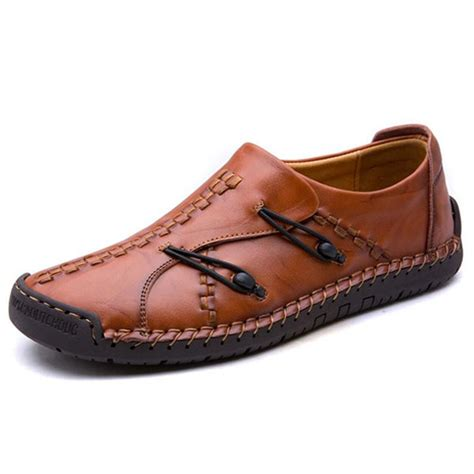 Genuine Leather Stitched Loafers comfortable woven style genuine leather soft sole