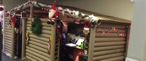 cubicle decorating contest office cubicle gets transformed into cozy cabin that wins decorating contest abc news