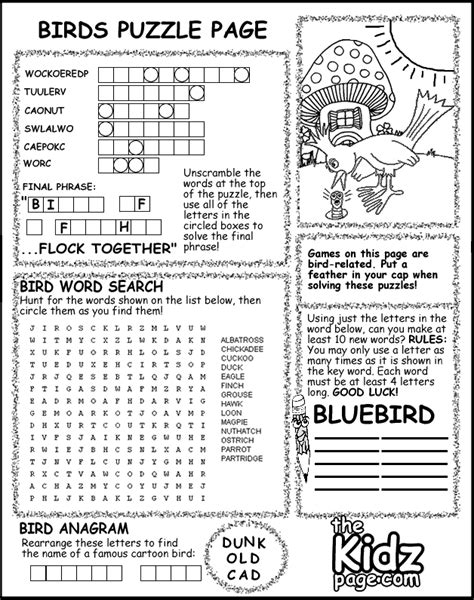 Birds Puzzle Page Activity Sheet Free Coloring Pages For Activity Page