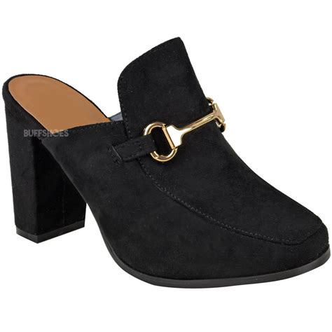 backless high heel shoes womens slip on backless mules block high heels