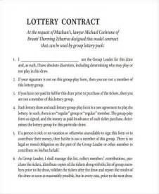 lottery syndicate agreement template word sle lottery syndicate agreement forms 8 free