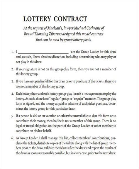 lottery pool contract template sle lottery syndicate agreement forms 8 free
