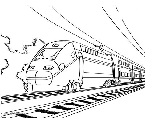 Coloring Page Speed Train | working sheet of bullet train for preschoolers coloring