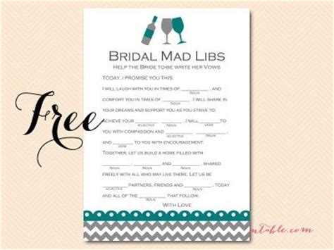 free mad libs vows version bs102 teal bridal shower wine bridal shower free printables
