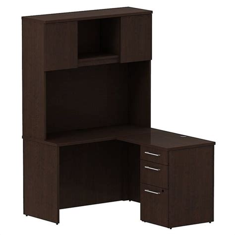 48 Desk With Hutch Bush Business 300 Series 48 Quot L Shaped Desk With Hutch In Mocha Cherry 300s064mr