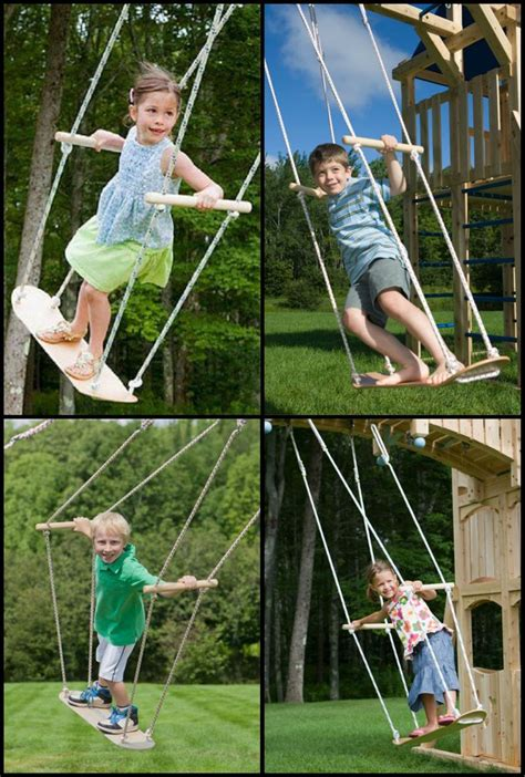 tree swings for kids one old skateboard some rope and a broom stick and a