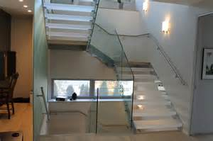 Plexiglass Cabinet U Shaped Stair With Acrylic Treads And Glass Railing