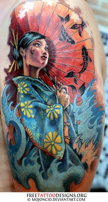 geisha tattoo with koi fish geisha tattoos