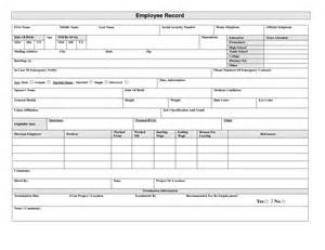 employee record form template employee record form doc business