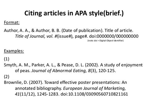 Article Title In Essay Apa by Cite Articles Books In Apa Style Briefbw