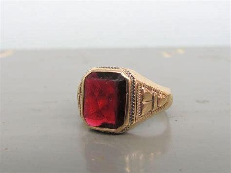Batu Akik Garnet 190 vintage garnet ring deco ring retro ring 10k yellow