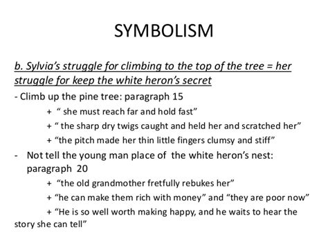 what does the tree symbolize a white heron symbolism
