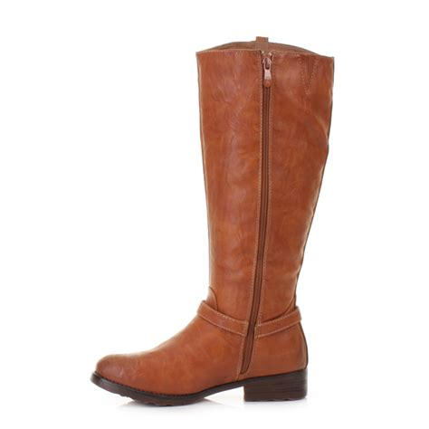 womens boots xti flat knee high camel smart casual