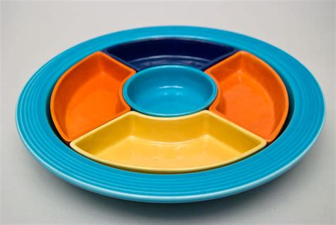 Fiestaware L by Vintage Relish Tray Fiestaware Original Lazy Susan For Sale