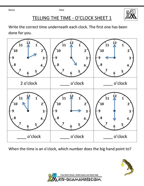 free printable time math sheets telling time worksheets o clock and half past