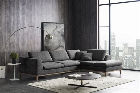 divani casa hickman modern dark grey fabric sectional sofa