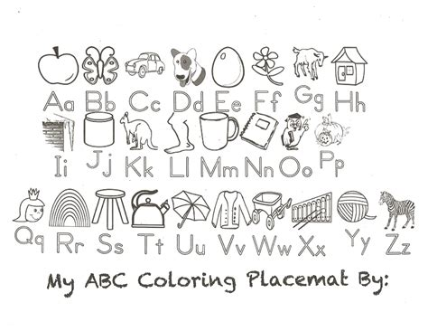 alphabet chart coloring page classroom freebies alphabet placemat