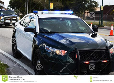 police car lights meaning lights of a police car in the city royalty free stock