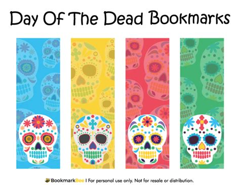 printable skull bookmarks printable day of the dead bookmarks