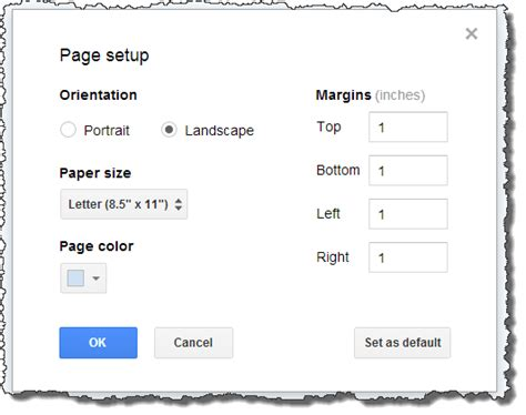 page layout horizontal word make a single page landscape in google documents web