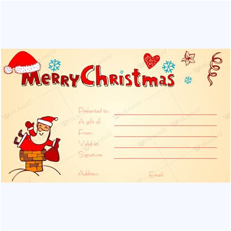 printable christmas gift certificate featuring santa word layouts