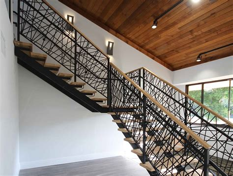 Stair Design by Double Stringer Steel Staircases With Wood Treads In Nyc
