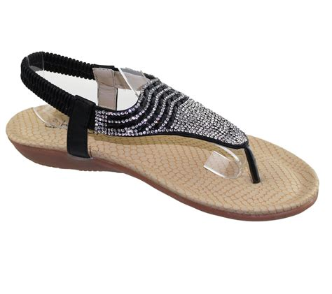 soft soled shoes for womens flat sandals diamante toe post summer