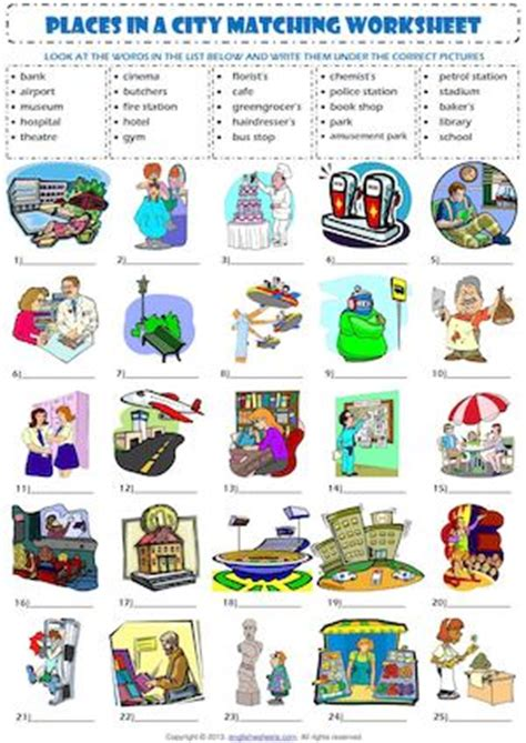 theme park definition dictionary calam 233 o places in a city matching exercise vocabulary