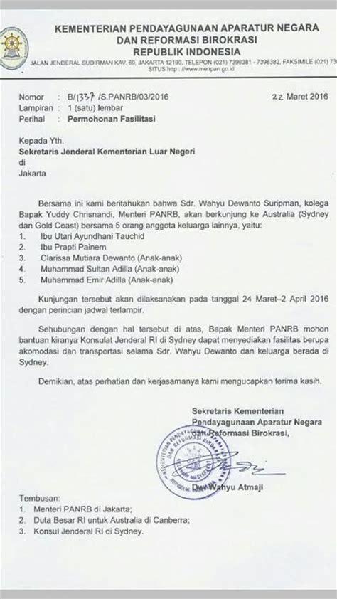 beredar surat kolega menteri yuddy minta pelesiran ke sydney merdeka