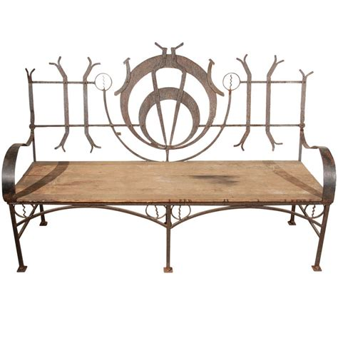 garden bench wrought iron and wood wrought iron garden bench at 1stdibs