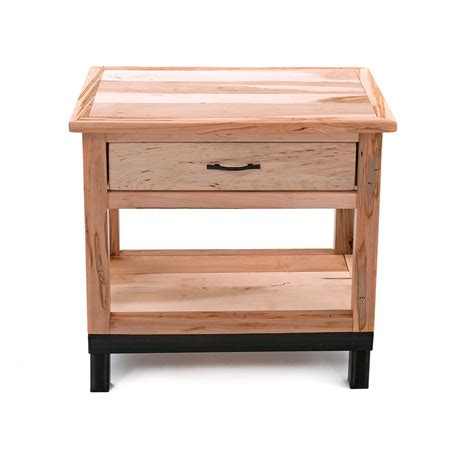 Nightstand With Drawer Denver 1 Drawer Nightstand Solid Maple Metal Legs Green Gables