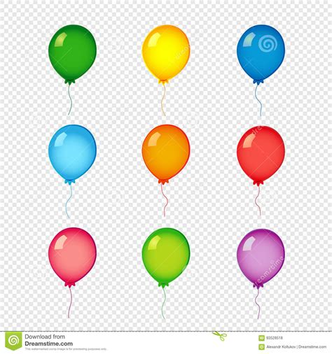 helium color colored helium balloons on transparent background stock