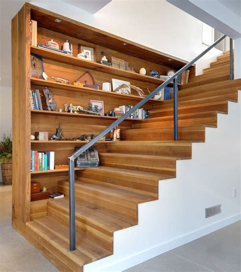 staircases with built in shelving units