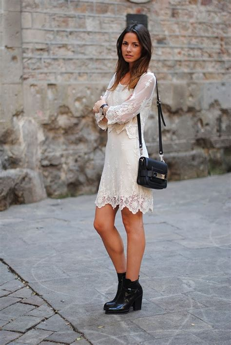 short white dresses on pinterest cowboy boot outfits white short lace dress black boots shoulder bag summer