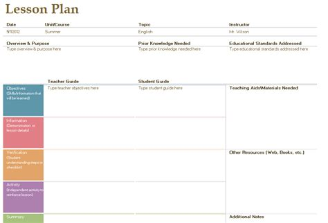 lesson plan template free layout format