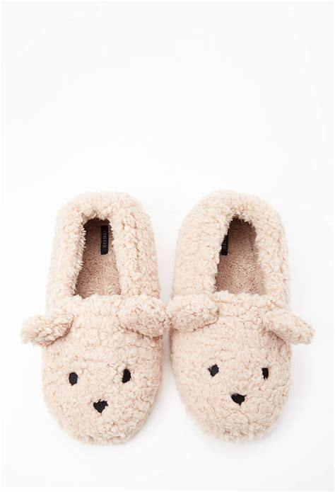 bear house shoes forever 21 faux shearling bear slippers in natural lyst