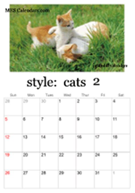Kitten Calendar Printable Kitten Calendars Page Yearly Or Monthly