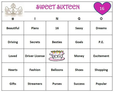 printable games for sweet 16 party sweet 16 birthday party bingo game 60 cards by