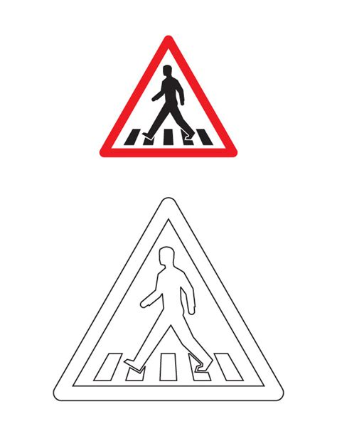 pedestrian crossing traffic sign coloring page download