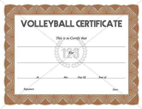 get free volleyball certificate templates 123certificate