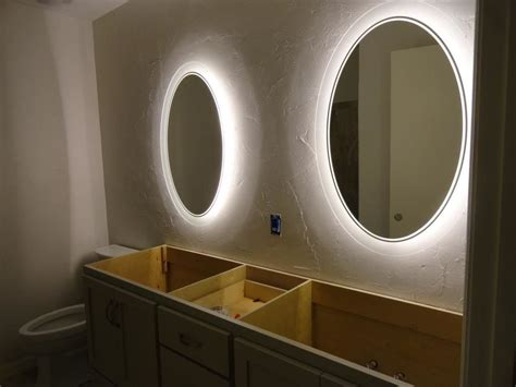 backlit led bathroom mirror bathrooms double backlit round bathroom mirror backlit
