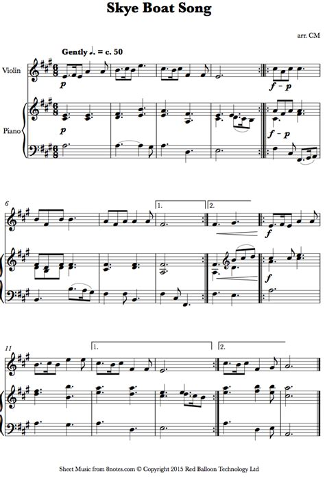 skye boat song sheet music for violin 8notes - Skye Boat Song Violin Sheet Music