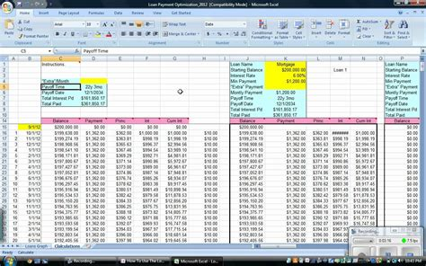 mortgage spreadsheet template loan payment optimization how to