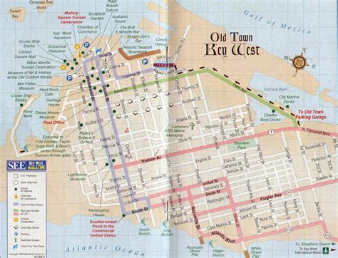 usa map key west map of key west with location of guest house